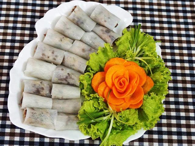 Củ cải cuộn nấm hấp chay